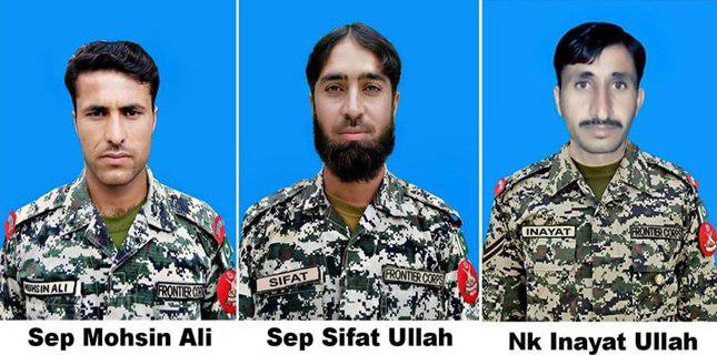 Photo of 3 FC personnel martyred in IED blast in North Waziristan