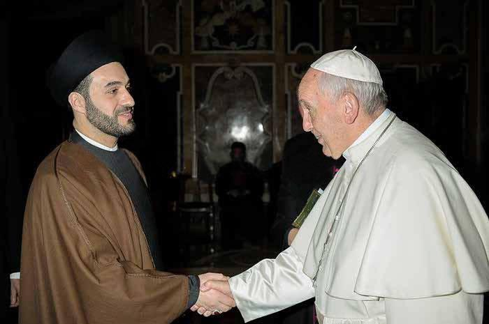 Photo of Iraqi Shia scholar meets with Pope Francis and calls for tolerance and moderation