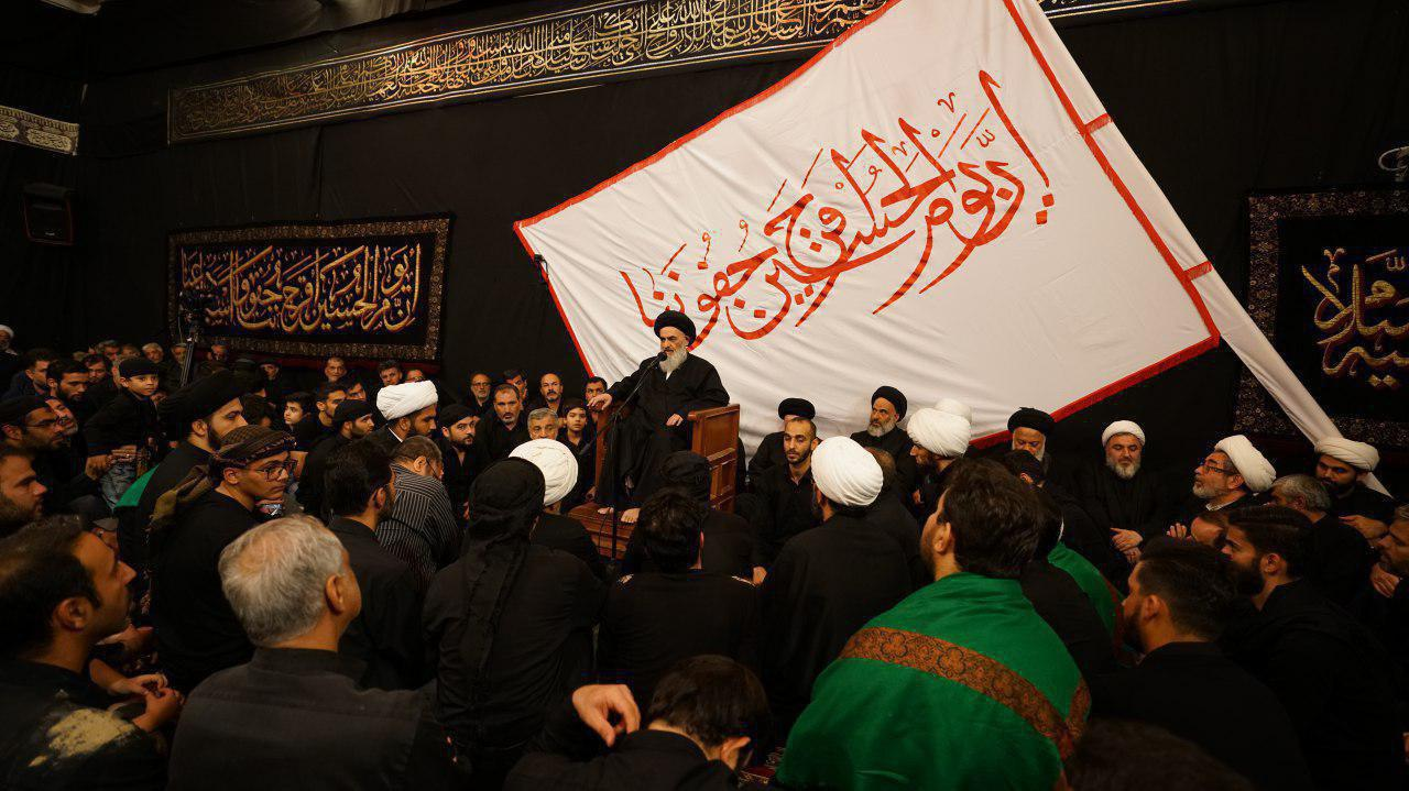 Photo of Grand Ayatollah Shirazi delivers speech on eleventh of Muharram's eve