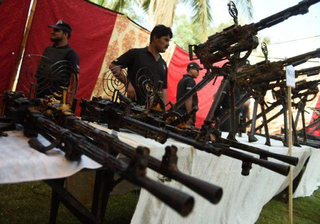 Photo of Arms seized from an empty house in Karachi raid