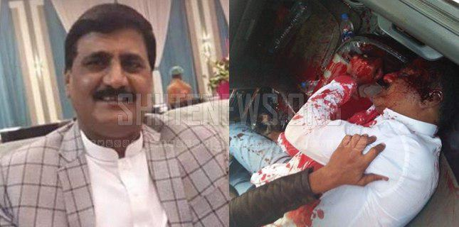 Photo of Known Shia notable Mohammad Ali Shah embraces martyred in Karachi, Pakistan