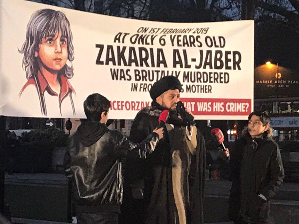 Photo of Shia community in Europe stood in solidarity with butchered Shia child
