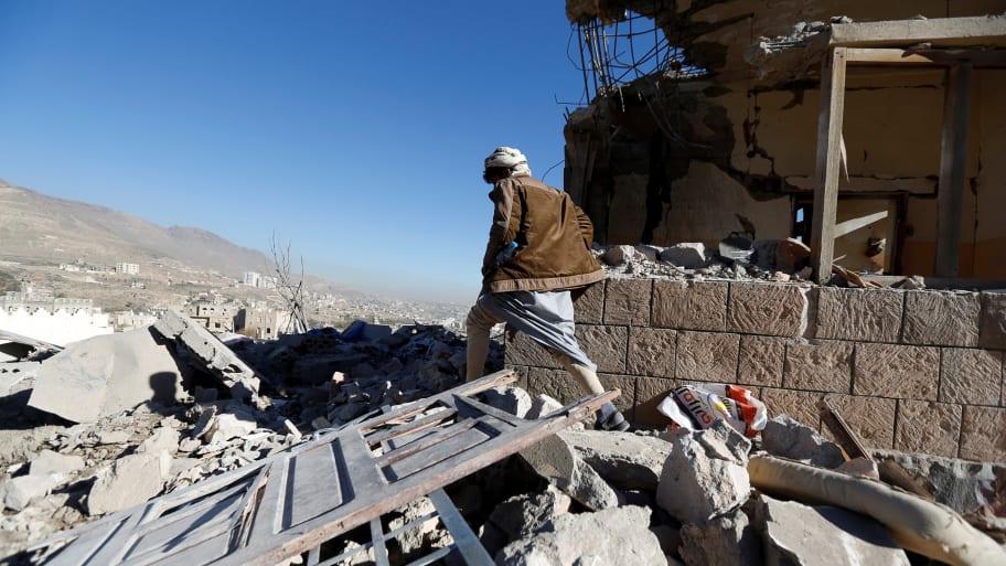 Photo of 58 innocent Yemeni civilians killed or injured by Saudi airstrike