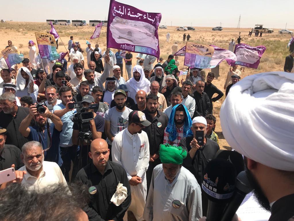 Photo of Ahlulbayt followers condemn the tragic demolition of Baqi at the Saudi border