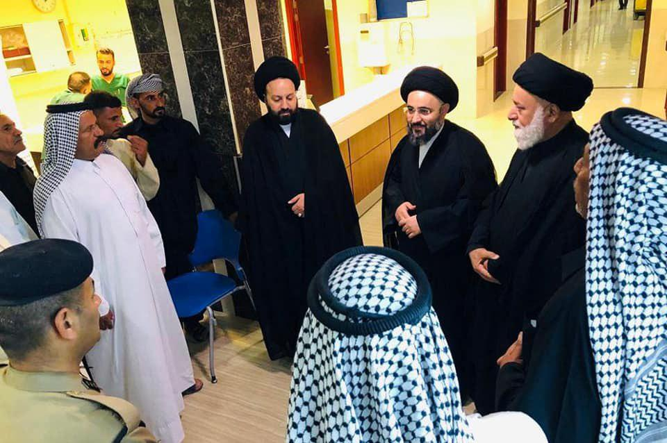 Photo of Delegation from Karbala office of Grand Ayatollah Shirazi visits victims of Twereej Run incident