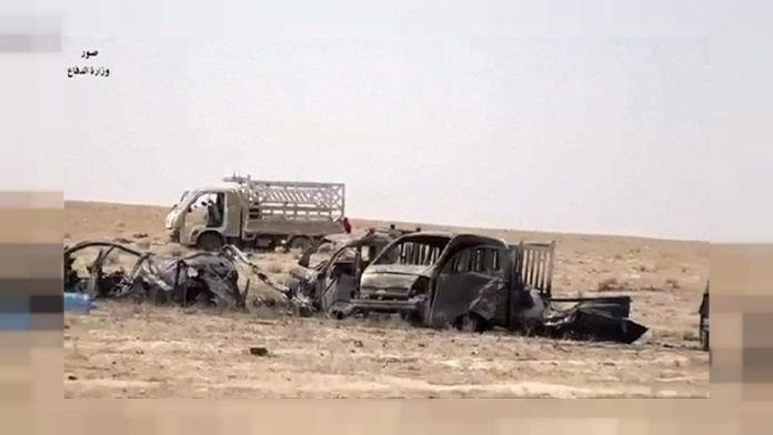 Photo of ISIS terrorist killed and vehicle burned on the border between Diyala and Salahuddin