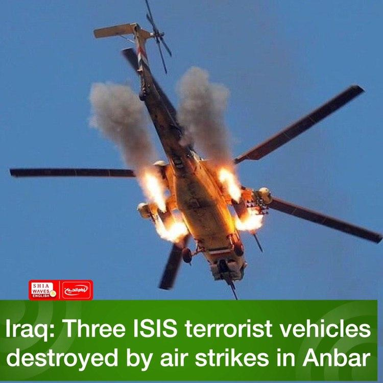 Photo of Iraq: Three ISIS terrorist vehicles destroyed by air strikes in Anbar