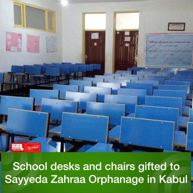 Photo of School desks and chairs gifted to Sayyeda Zahraa Orphanage in Kabul
