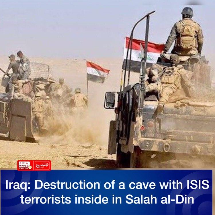 Photo of Iraq: Destruction of a cave with ISIS terrorists inside in Salah al-Din