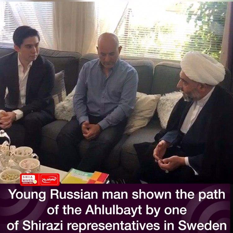 Photo of Young Russian man shown the path of the Ahlulbayt by one of Shirazi representatives in Sweden