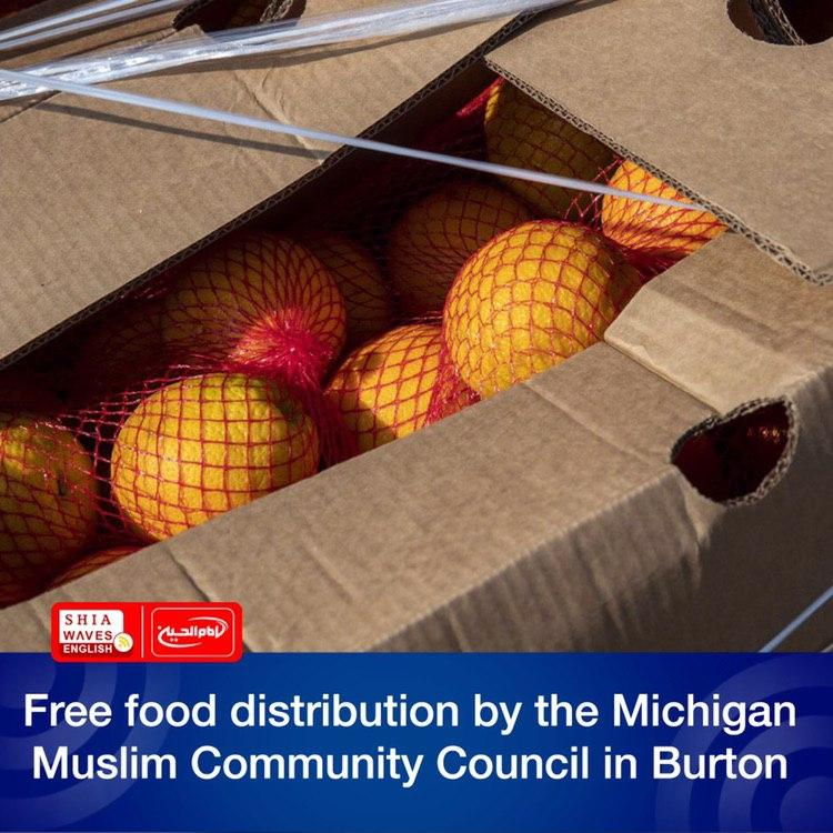 Photo of Free food distribution by the Michigan Muslim Community Council in Burton