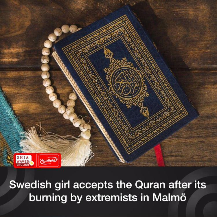 Photo of Swedish girl accepts the Quran after its burning by extremists in Malmö
