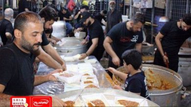 Photo of Service tents and processions of the Shirazi Religious Authority in Iraq mobilized to serve Arbaeen pilgrims