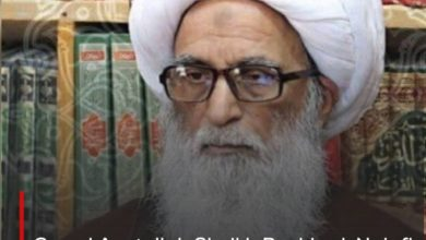 Photo of Grand Ayatollah Sheikh Bashir al-Najafi denounces the inclusion of Imam Redha Holy Shrine on the US sanctions list