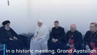 Photo of In a historic meeting, Grand Ayatollah Sistani and Pope Francis discuss the role of faith in God, His messages, and peaceful coexistence