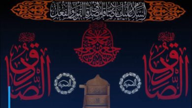 Photo of Al-Askariyain Holy Shrine covered in black to mark the martyrdom anniversary of Imam Jafar al-Sadiq, peace be upon him