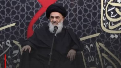 Photo of Grand Ayatollah Shirazi stresses the support of the Husseini cause