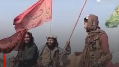 Photo of Taliban terrorists remove banners of Imam Hussein in Kabul