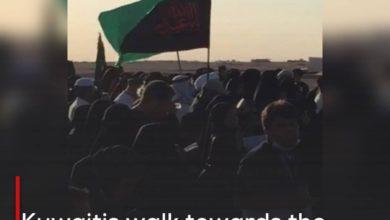 Photo of Kuwaitis walk towards the Iraqi border in commemoration of the Arbaeen