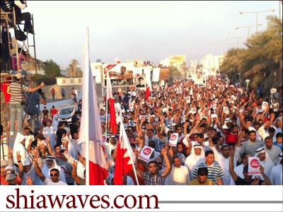 تصویر راهپیمایی مسالمت آمیز در خیابان های منامه