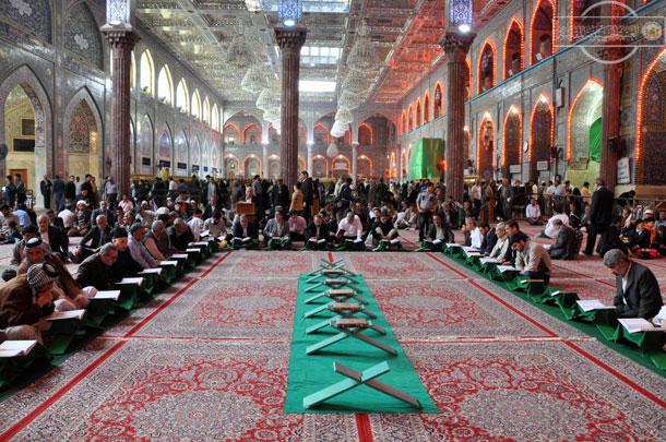 تصویر برگزاری محافل قرآنی در صحن مطهر امام حسین علیه السلام