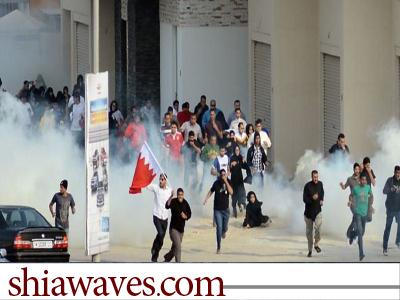 تصویر شلیک گستره گاز های سمی توسط مزدوران آل خلیفه