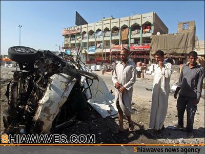 تصویر انفجار تروریستی در نزدیکی مسجد شیعیان در استان صلاح الدین عراق