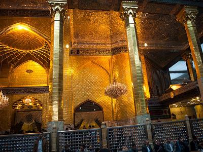 تصویر اتمام مرحله پایانی مقاوم سازی ستونهای ایوان طلای حرم مطهر عباسی