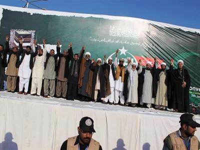 تصویر حمایت گروه های مختلف مذهبی پاکستان ، از شیعیان در برابر حملات تروریستی