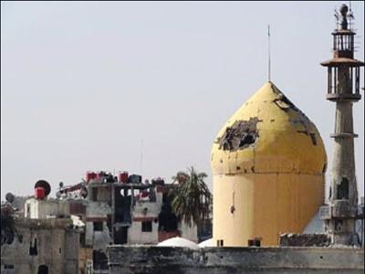 تصویر آزادسازی حرم مطهر حضرت سکینه سلام الله علیها در سوریه