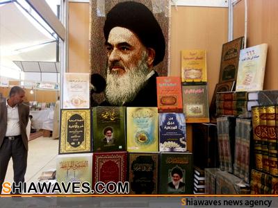 تصویر آثار علمی آیت الله العظمی شیرازی در ششمین نمایشگاه بین المللی کتاب نجف اشراف