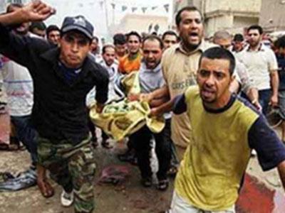 تصویر اصابت گلوله خمپاره در نزدیک یک حسینیه شیعیان در بغداد