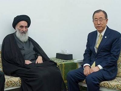 تصویر دیدار دبیرکل سازمان ملل با آیت الله العظمی سیستانی