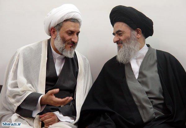تصویر گفت و گوی شنیدنی آیت الله العظمی شیرازی و نماینده اسبق مجلس بحرین