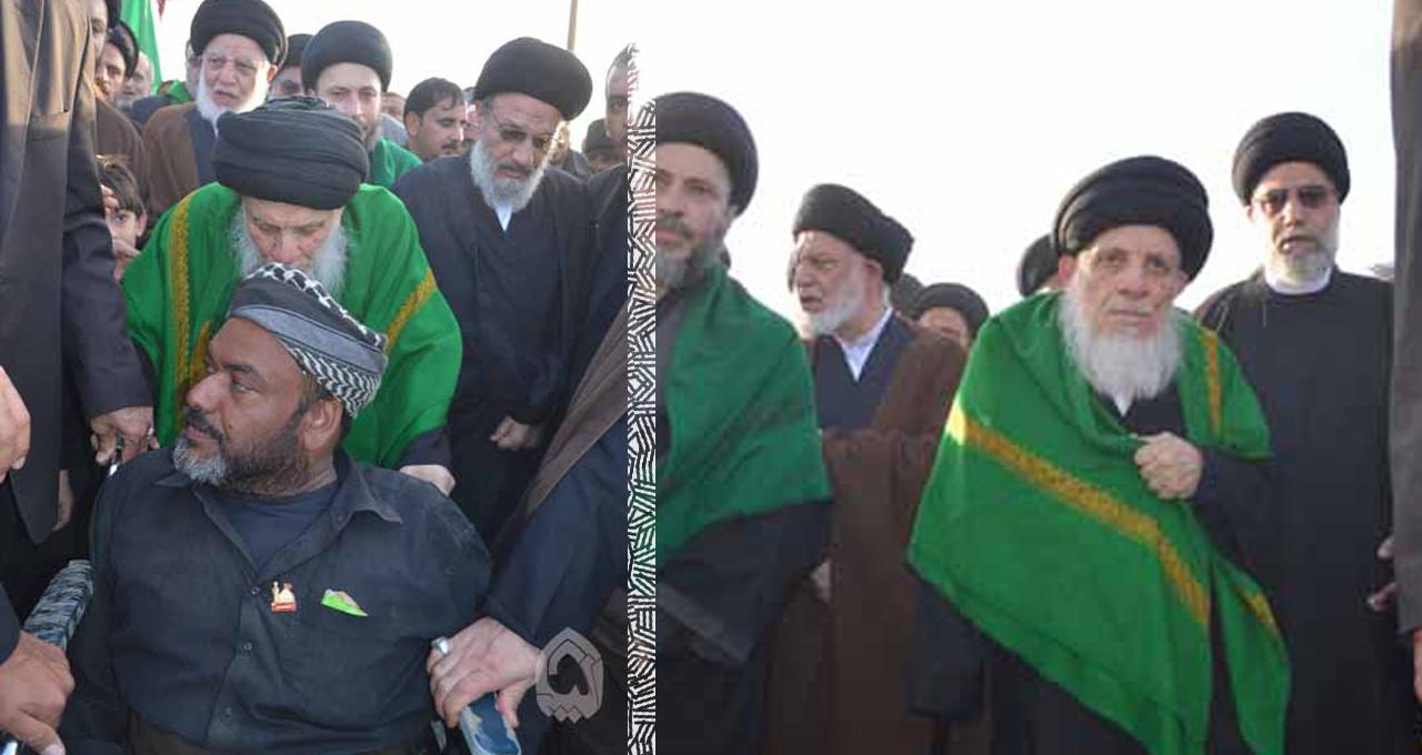 تصویر پیاده روی آیت الله العظمی سید محمد سعید حیکم در جمع میلیونی اربعین حسینی