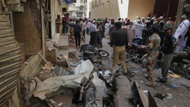 تصویر انفجار بمب در کراچی پاکستان