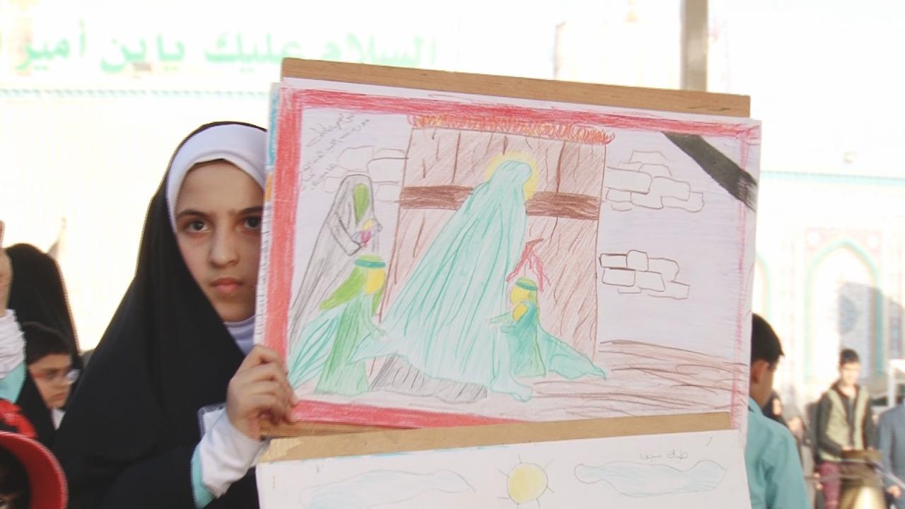 تصویر به تصویر کشیدن مظلومیت حضرت زهرا سلام الله علیها  توسط کودکان