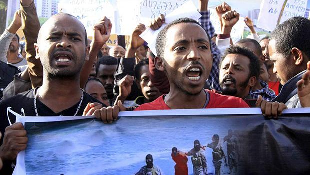 تصویر تظاهرات چندصدهزار نفری مردم اتیوپی در  محکومیت تروریستهای داعش