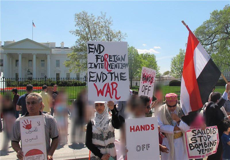 تصویر تظاهرات ضد عربستان سعودی مقابل کاخ سفید