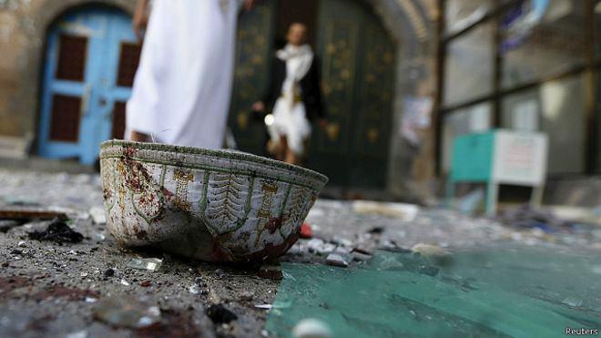 تصویر وقوع انفجاری مهیب در مسجدی در صنعاء همزمان با اقامه نماز عید قربان