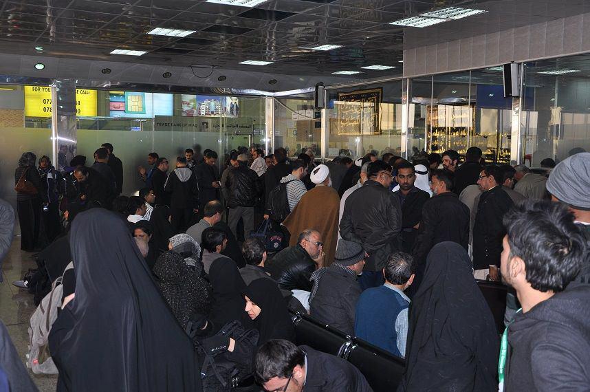 تصویر افزایش ورود هواپیماهای حامل زائران عتبات عالیات، به فرودگاه نجف اشرف