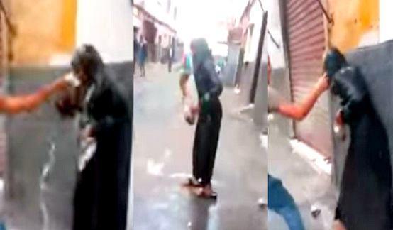 تصویر حمله جوانان ناصبی مغربی، به یک دختر دارای لباس عزای امام حسین علیه السلام