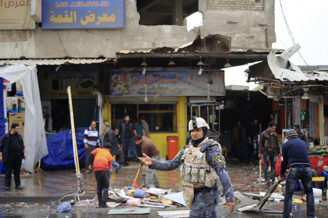 تصویر انفجار بمب در جنوب شرق بغداد