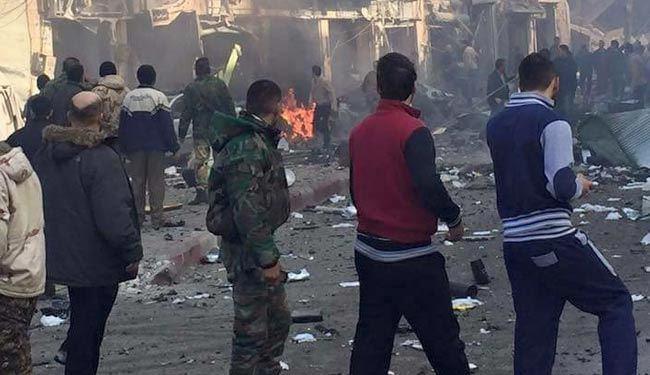 تصویر انفجار در منطقه شیعه نشین الزهراء در حمص سوریه