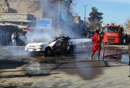 تصویر انفجار تروریستی مرگبار در شهر قندوز افغانستان
