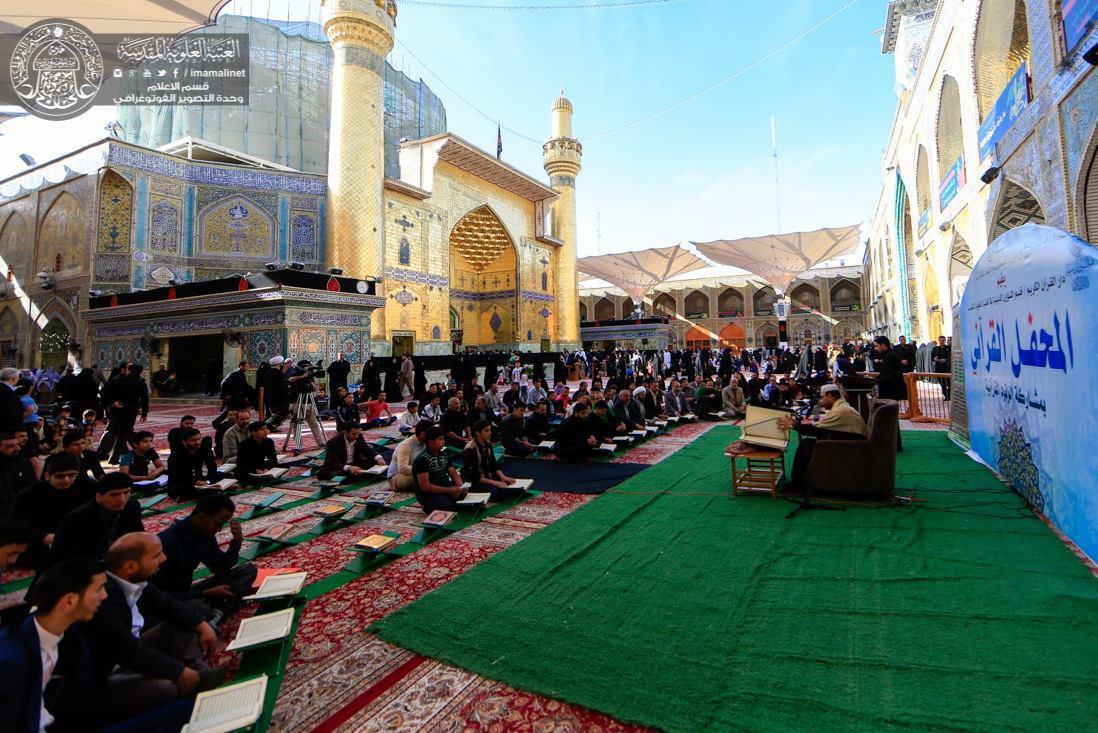 تصویر حضور نابغه ايرانى حافظ قرآن در محفل قرآنی حرم امیرالمومنین علیه السلام