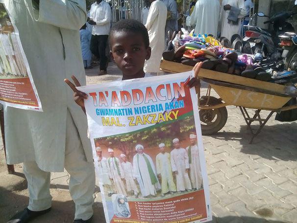 تصویر تظاهرات مسالمت آميز فرزندان شهدای نیجریه در اعتراض به ادامه بازداشت شيعيان
