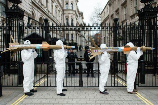 تصویر اعتراض به فروش سلاح به عربستان در لندن