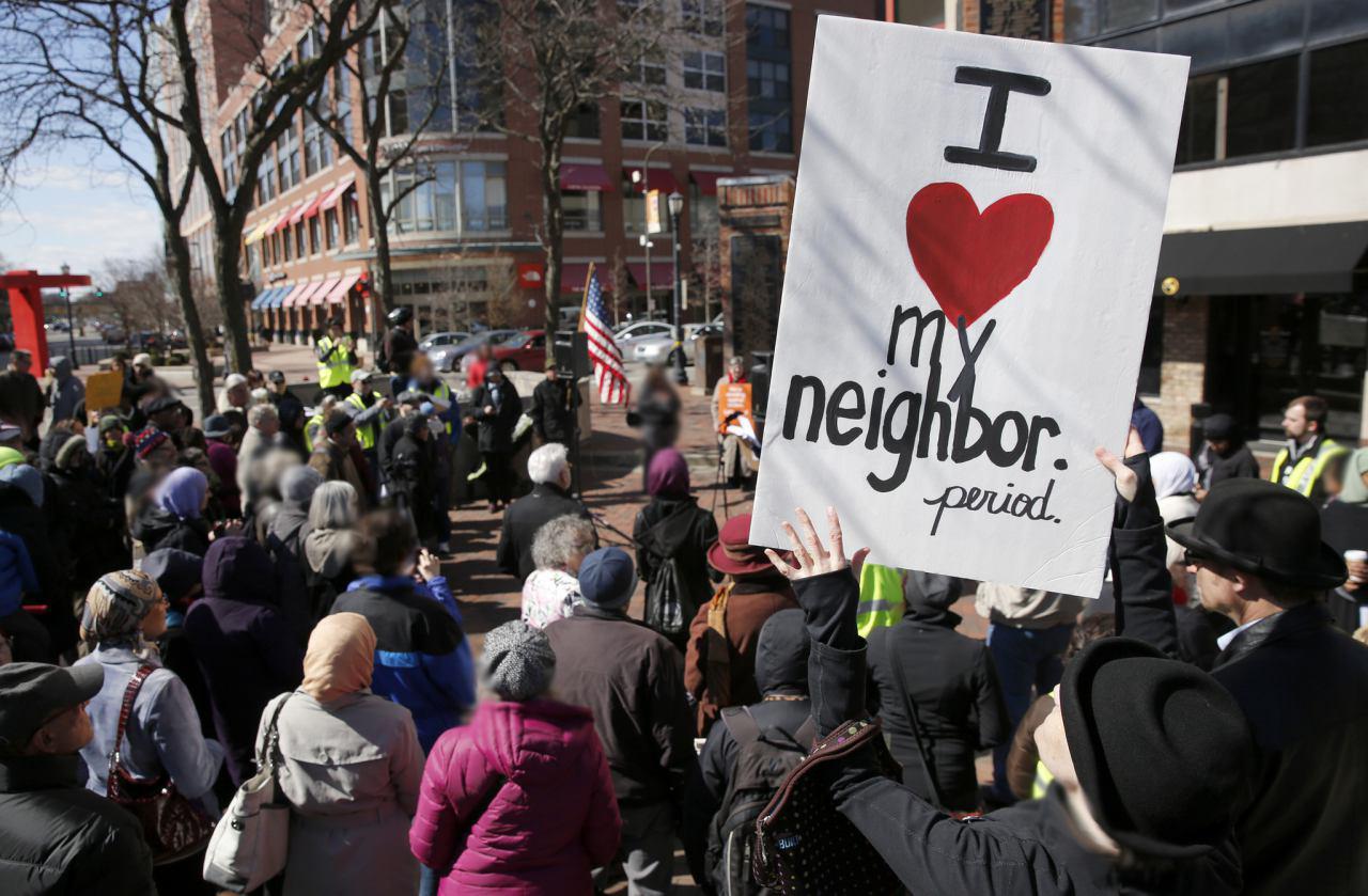 تصویر اعتراض به تعصبات ضداسلامی در ایالت «ایلینوی» آمریکا