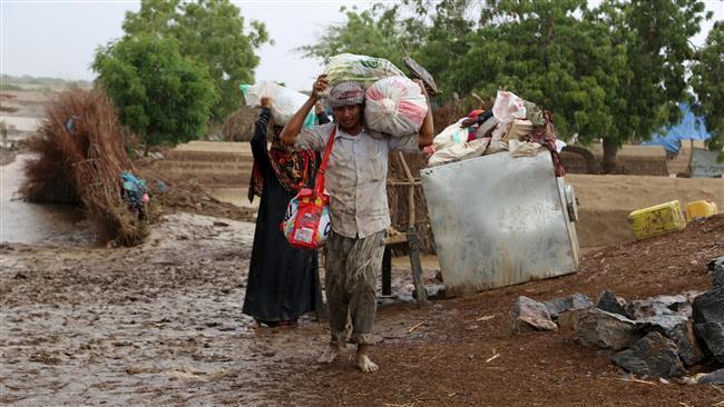 تصویر جاری شدن سیل در استان های یمن و ده ها کشته و مفقود